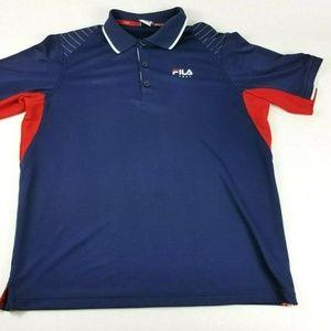 Fila Sport Men's Large Blue Logo Tennis Polo Shirt